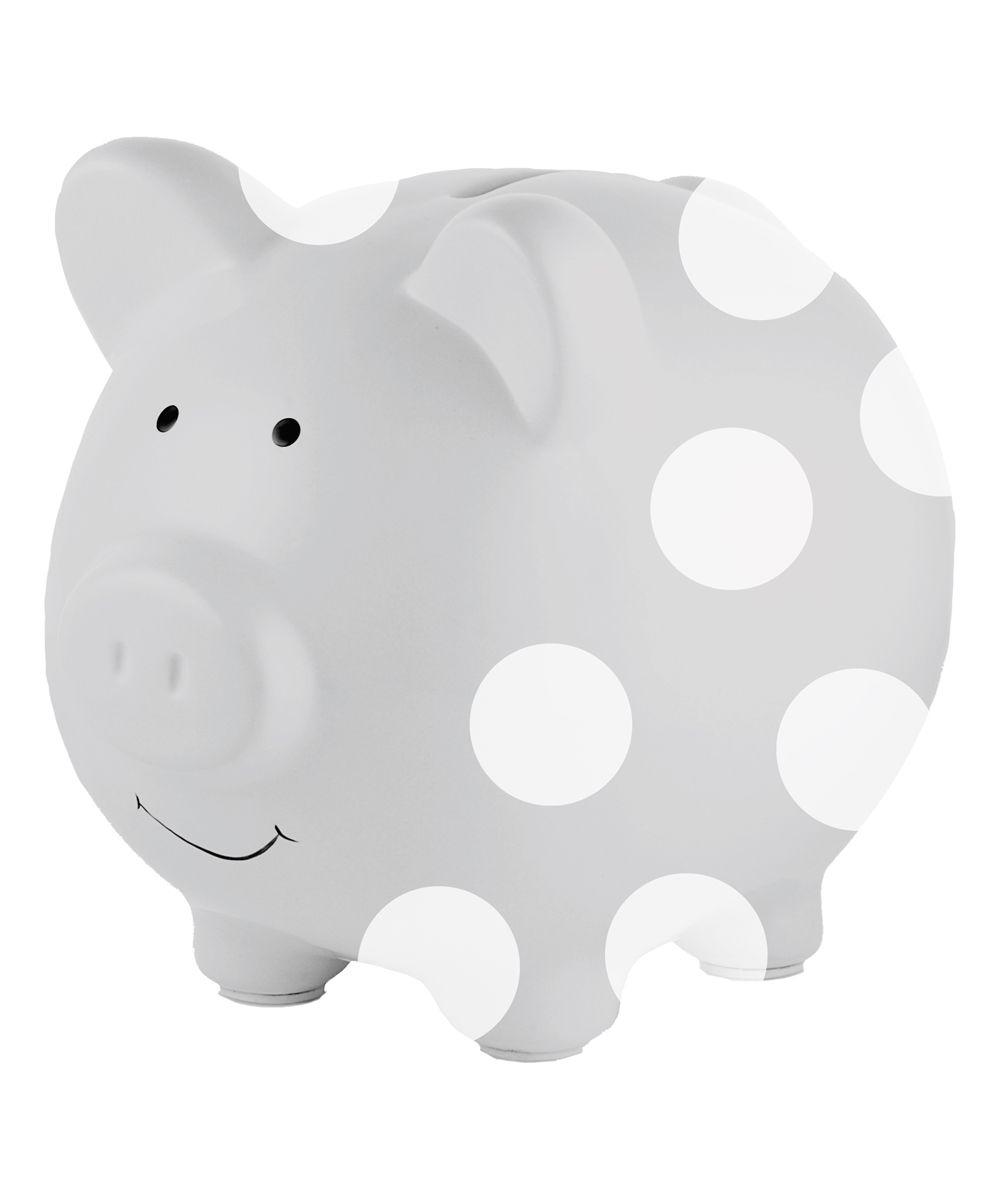 Gray Polka Dot Piggy Bank