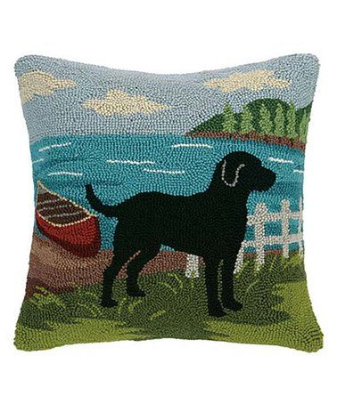 This Black Lab Canoe Lake Hook Throw Pillow Is Perfect Zulilyfinds Hooked Pillow Wool Throw Pillows Pillows