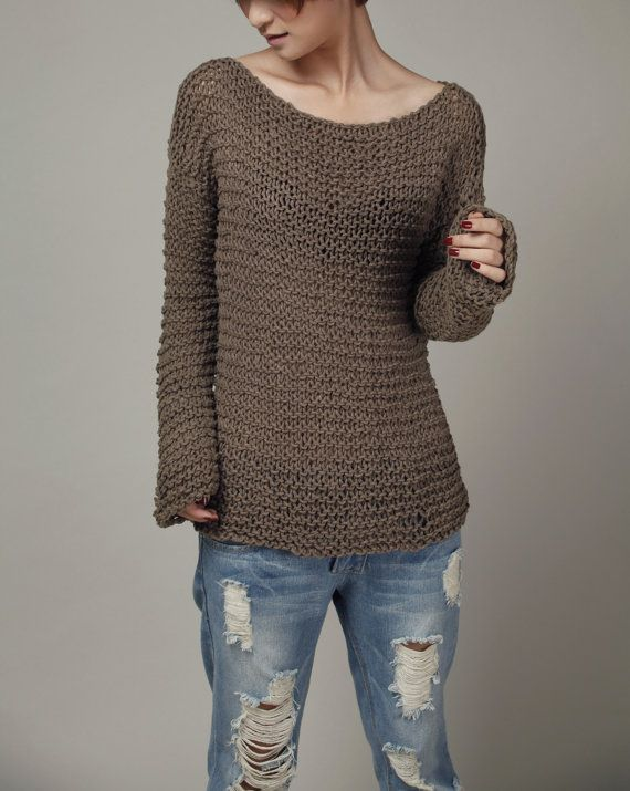 Simple is the best Hand knitted woman sweater Eco by MaxMelody ... fa234b1d5a17