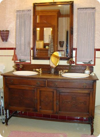 Bathroom Vanity From Antique Buffet Bathroom Ideas Pinterest Bathroom Bath And Vanity