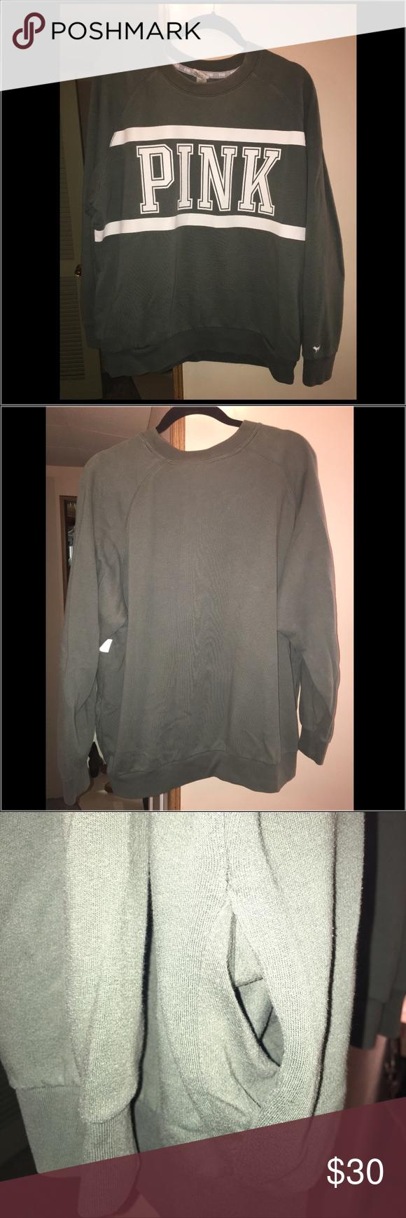 VS PINK olive green sweatshirt | vs Pink, Scoop neck and Sweatshirt