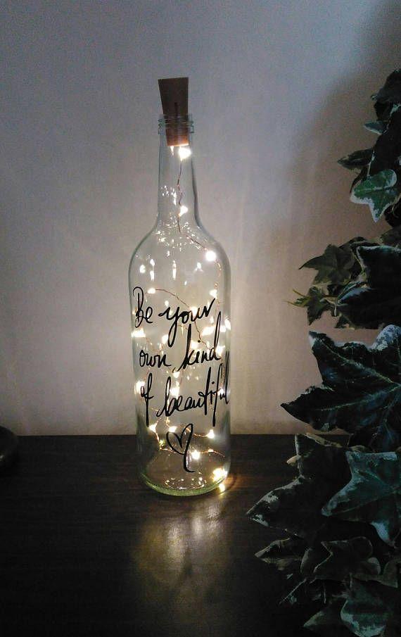 Fairy Light Wine Quote Bottle Bottles Artisan Chabby