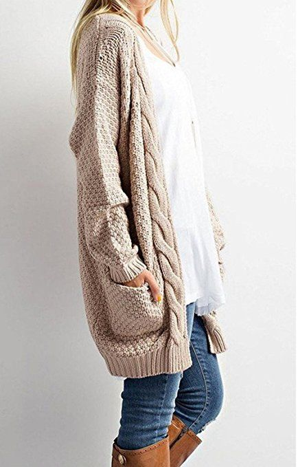 Womens Cable Knit Open Front Cardigan Sweaters with Pockets ...