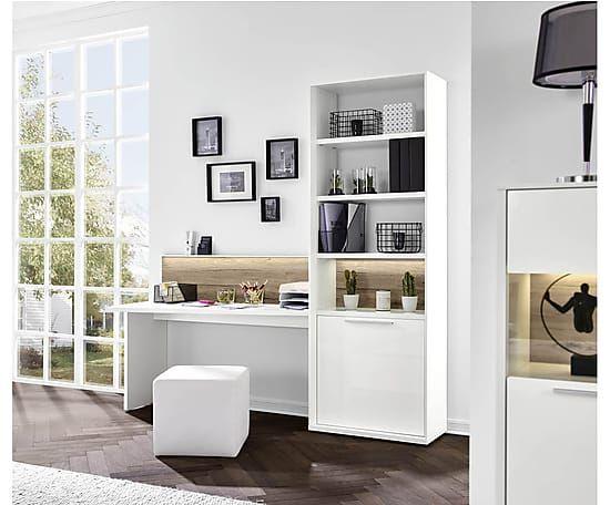 schreibtisch mit regal gamble b 213 cm wohnen und gestalten white bedroom home decor und. Black Bedroom Furniture Sets. Home Design Ideas