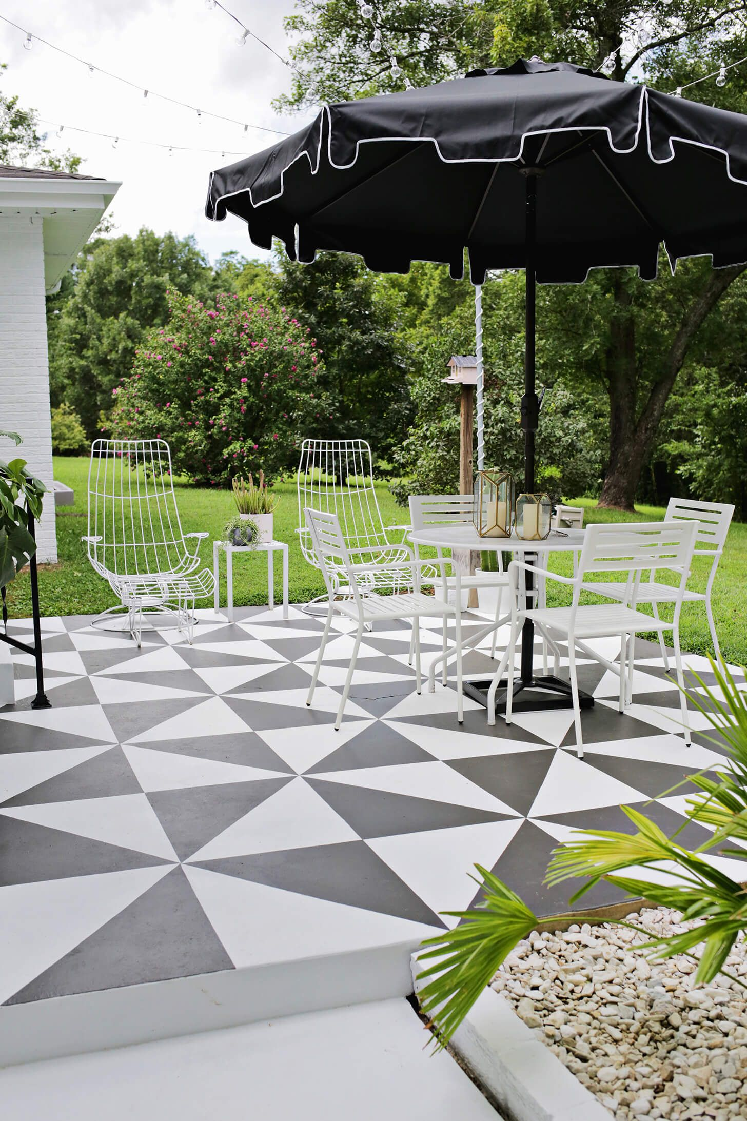 Black And White Painted Patio/Amazing! Painted Patio Tile DIY (click  Through For