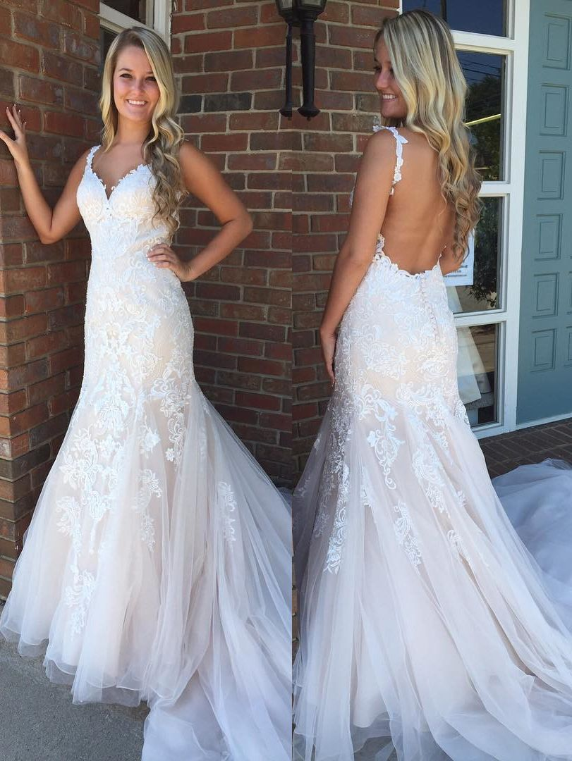 Gorgeous mermaid white lace appliques long wedding dress with open
