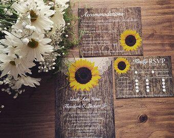 Rustic Sunflower Wedding Invitations Sunflower by OddLotPaperie ...