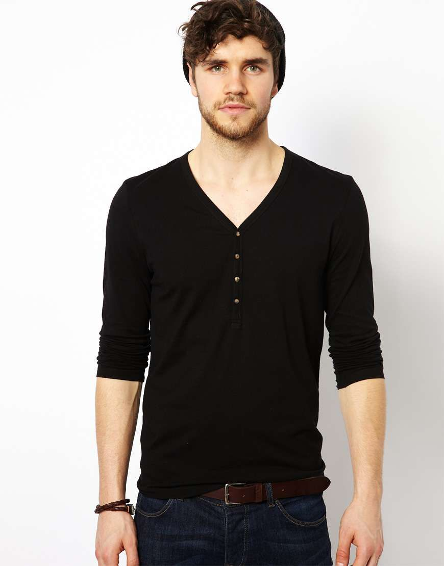 Black t shirt asos - Love The Asos Long Sleeve T Shirt With Y Neck On Wantering Men S Tees