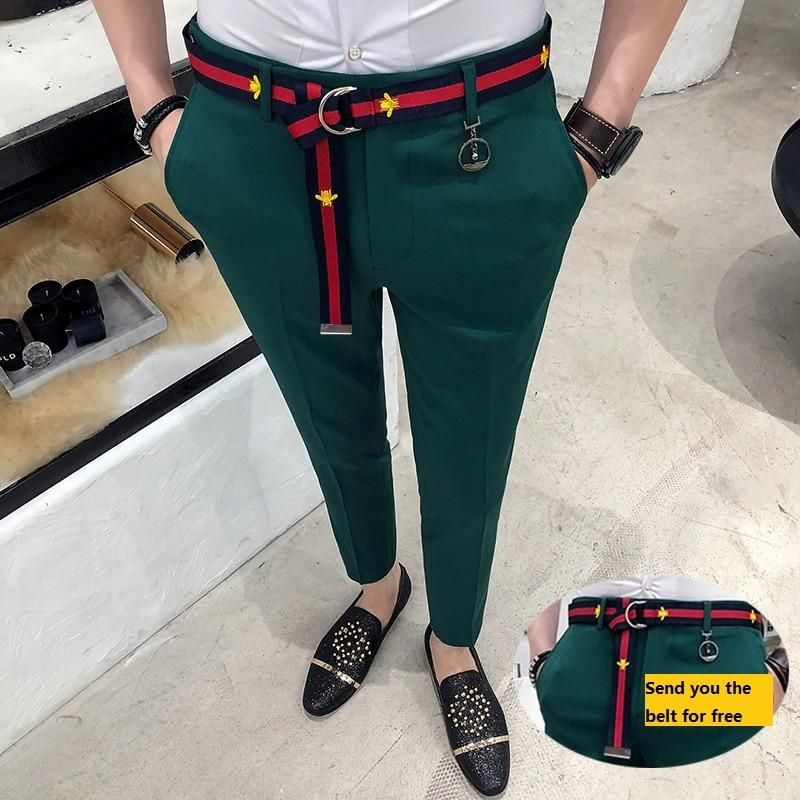 Mens Pencil Slim Fit Flat Front Casual Dress Pants British style trousers Size
