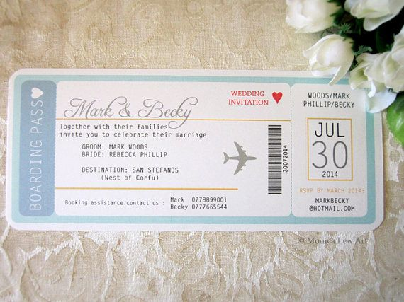 Sample Invite Plane Ticket Destination Wedding by MonicaLewArt