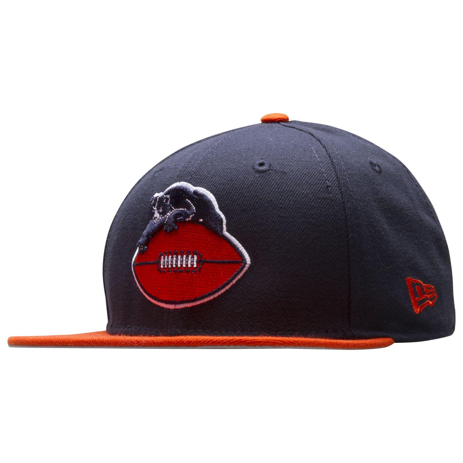 43ebd80b Chicago Bears Navy and Orange Retro Bear on Football Logo Snapback ...