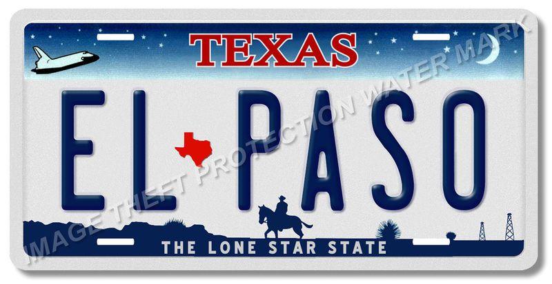 EL PASO Texas Lone Star State 100 Aluminum Vanity License