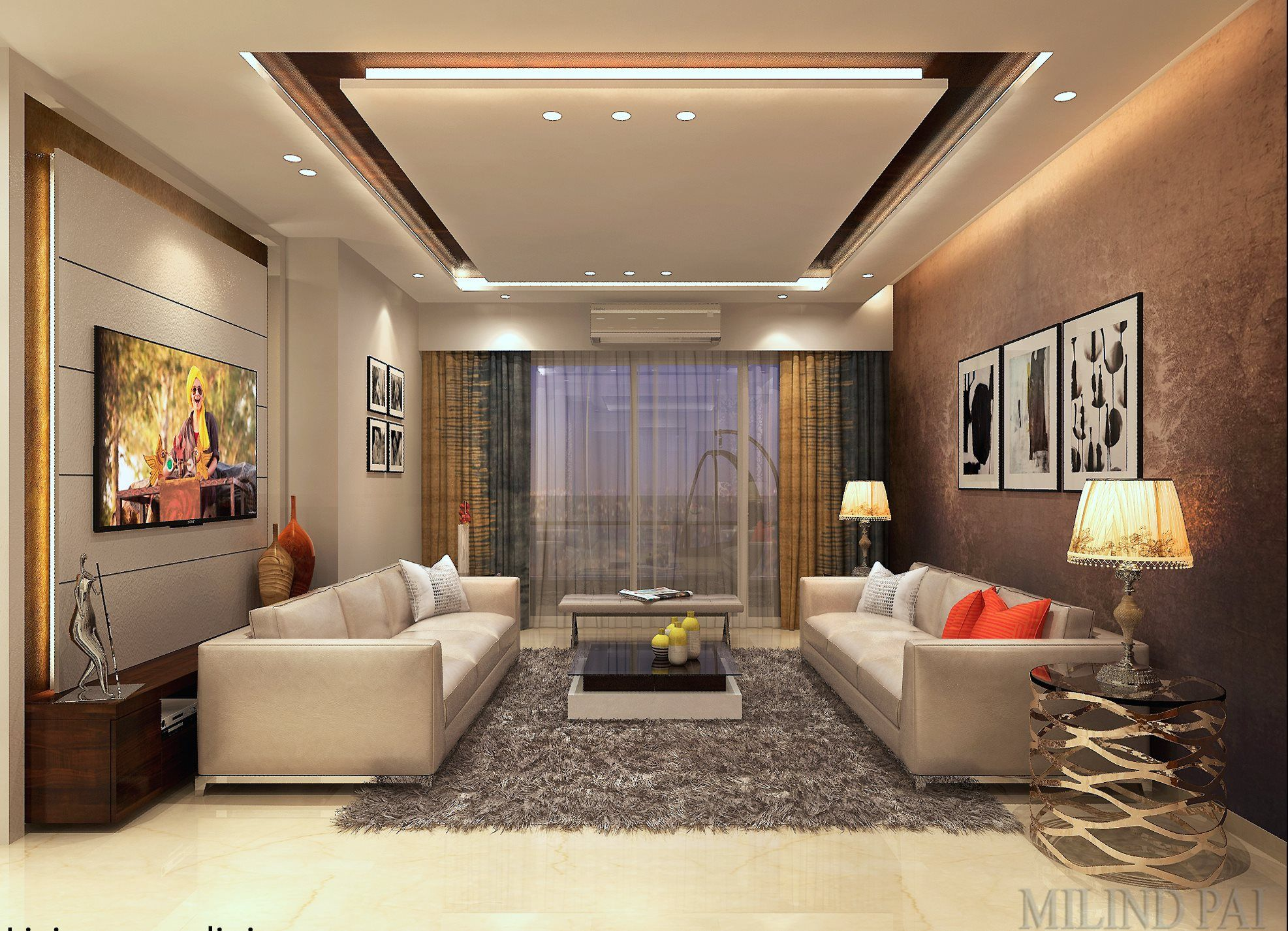 Design of a living room in Suburban Mumbai, for more ...