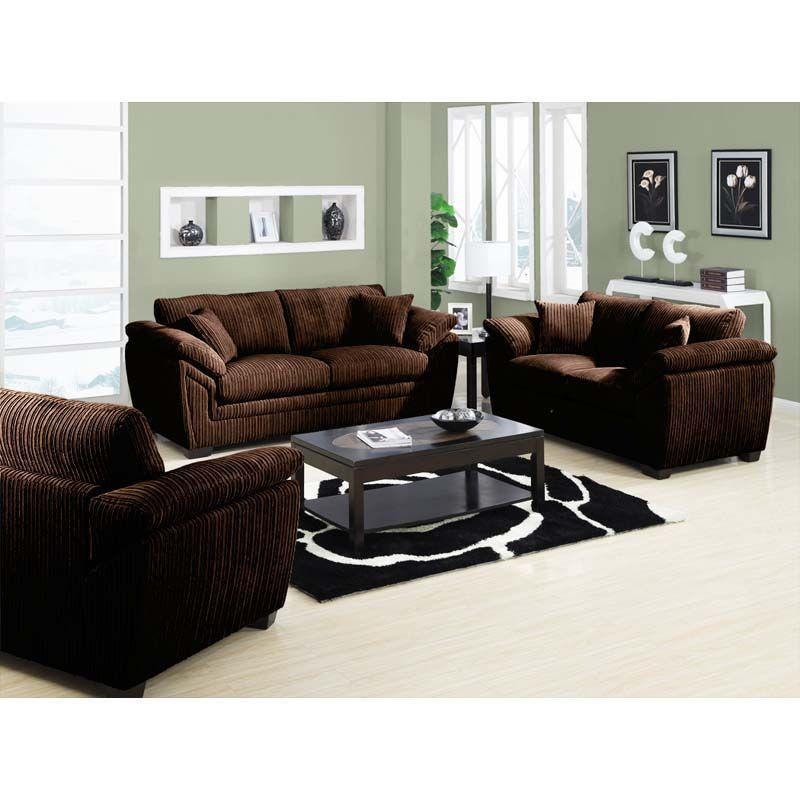 Emerald Chocolate Brown Sofa Set