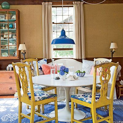 Awesome Dining Room Ideas With Some Colors : Nice Blue Colorful Dining Room  With White Table And Classic Yellow Chairs