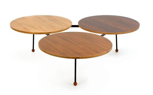 Greta Grossman, 3-top coffee table for Glenn of California, 1950's. via