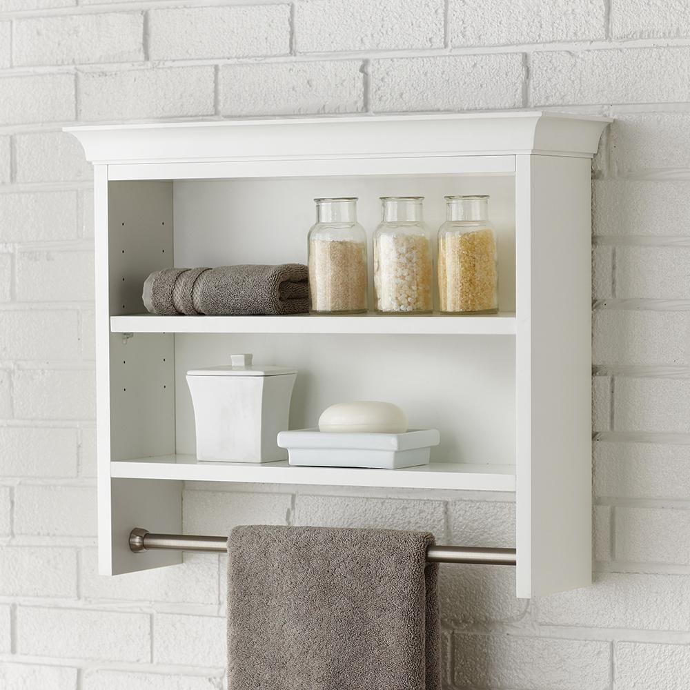 Home Decorators Collection Creeley 24 In W X 21 In H X 7 In D Wall Mount 2 Tier Bathroom Shelf With Towel Bar In Classic White 19eoswc22 The Home Depot Bathroom Wall