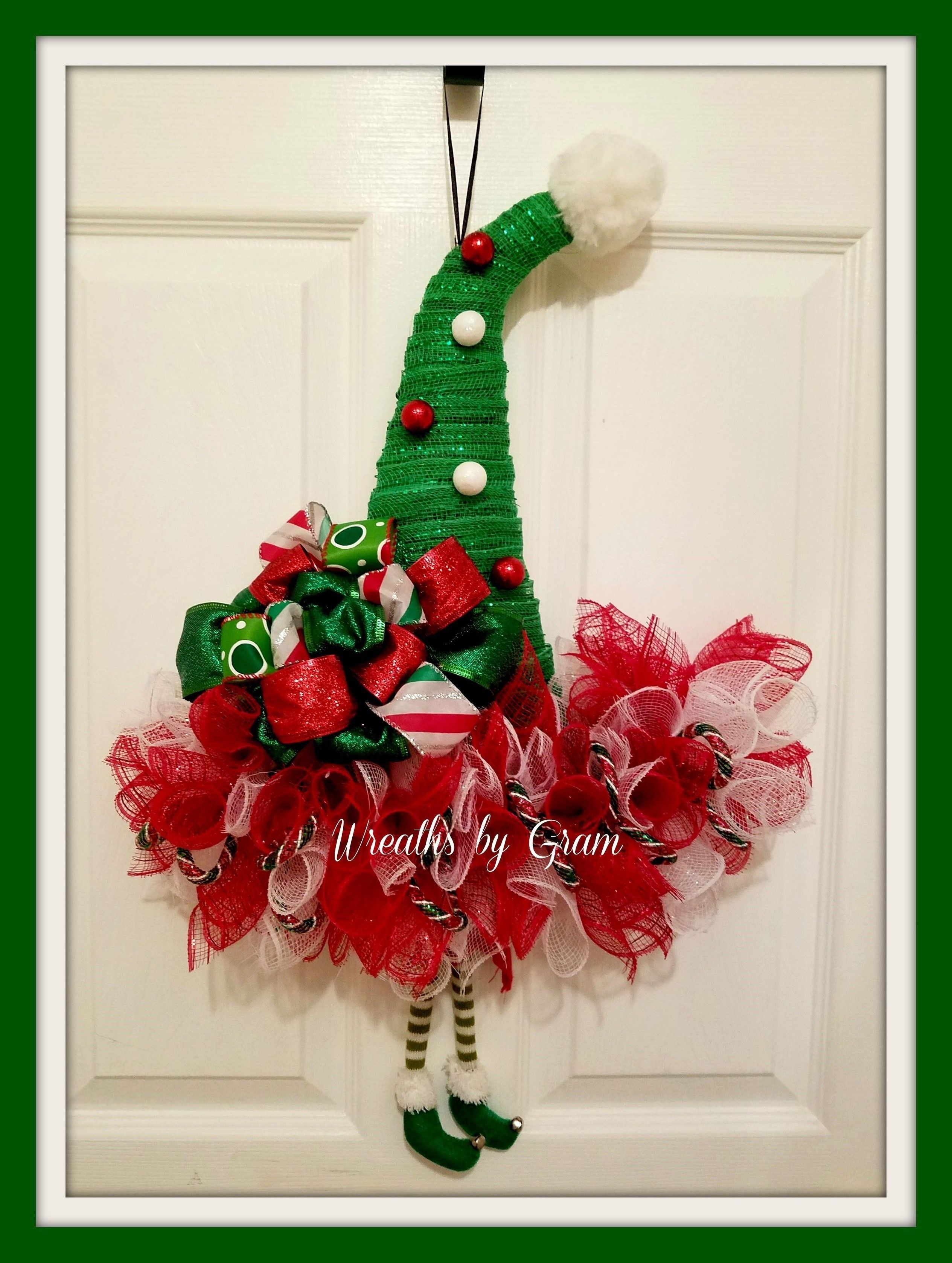 Elf Hat Wreath, Christmas Wreath, Elf Wreath, Christmas Decor, Elf