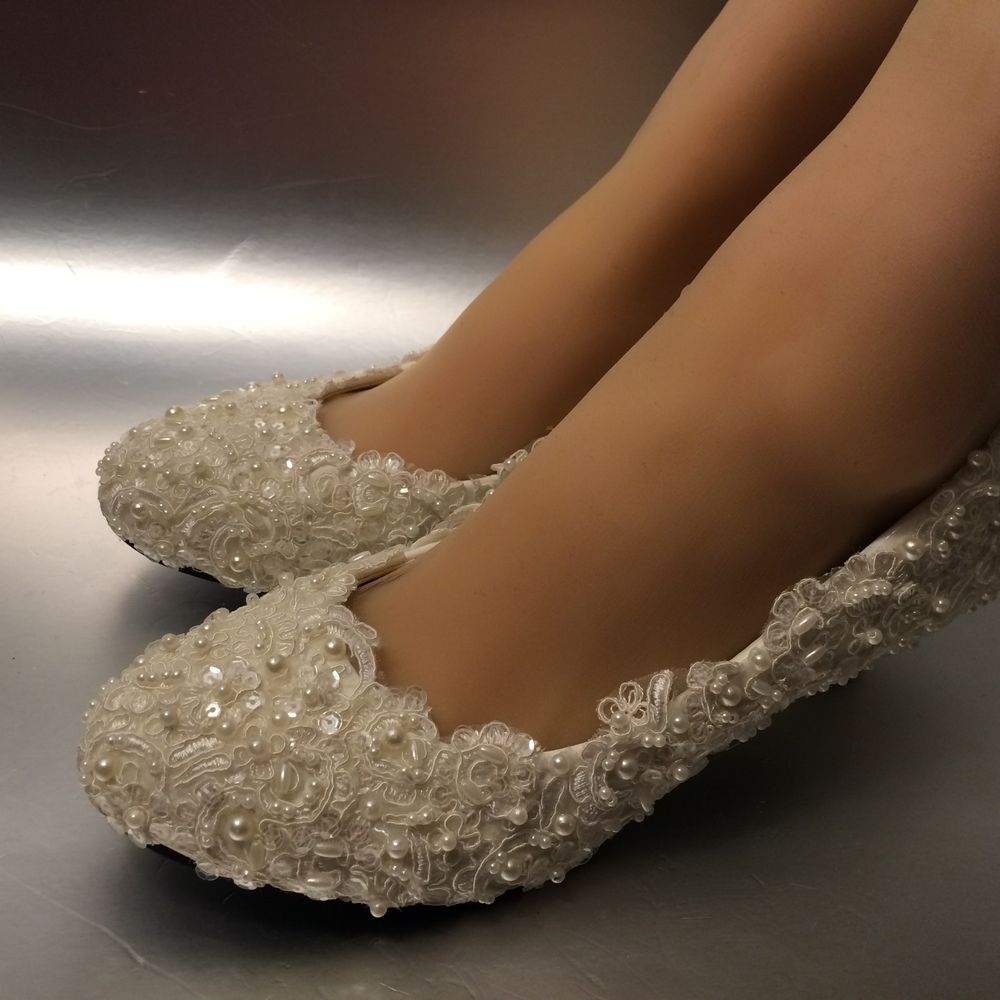 Lace White Ivory Pearls Wedding Shoes Bridal Flats Low High Heel Pumps Size 5 12 Wedding Shoes Lace Fun Wedding Shoes Bridal Shoes Flats