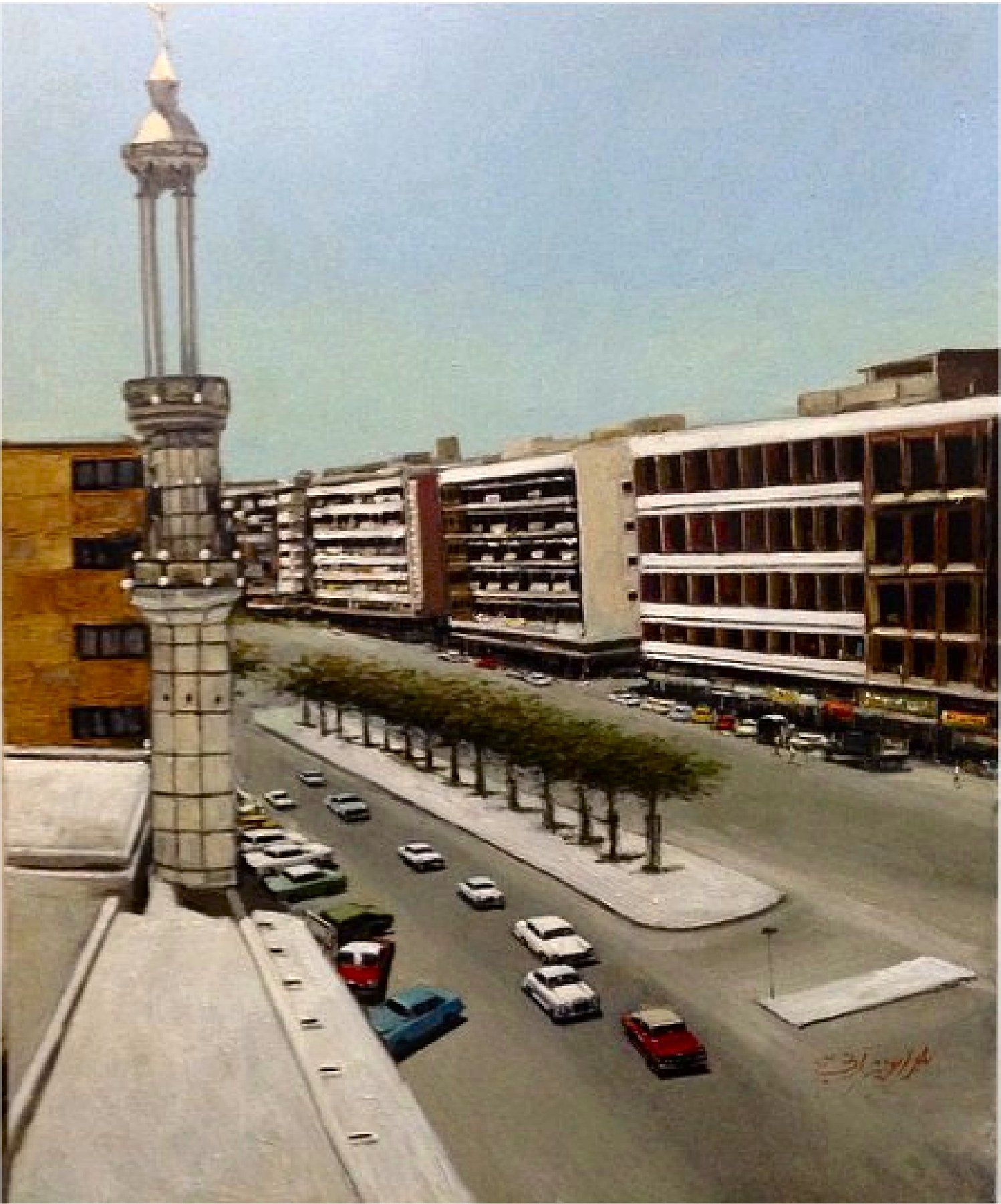 شارع فهد السالم في الستينيات برشة عبدالعزيز ارتي Tower Landmarks Painting