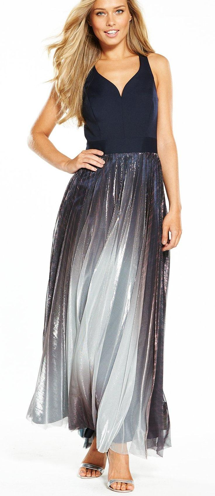 Nacy roma maxi dress with matallic pleats skirt from coast great as