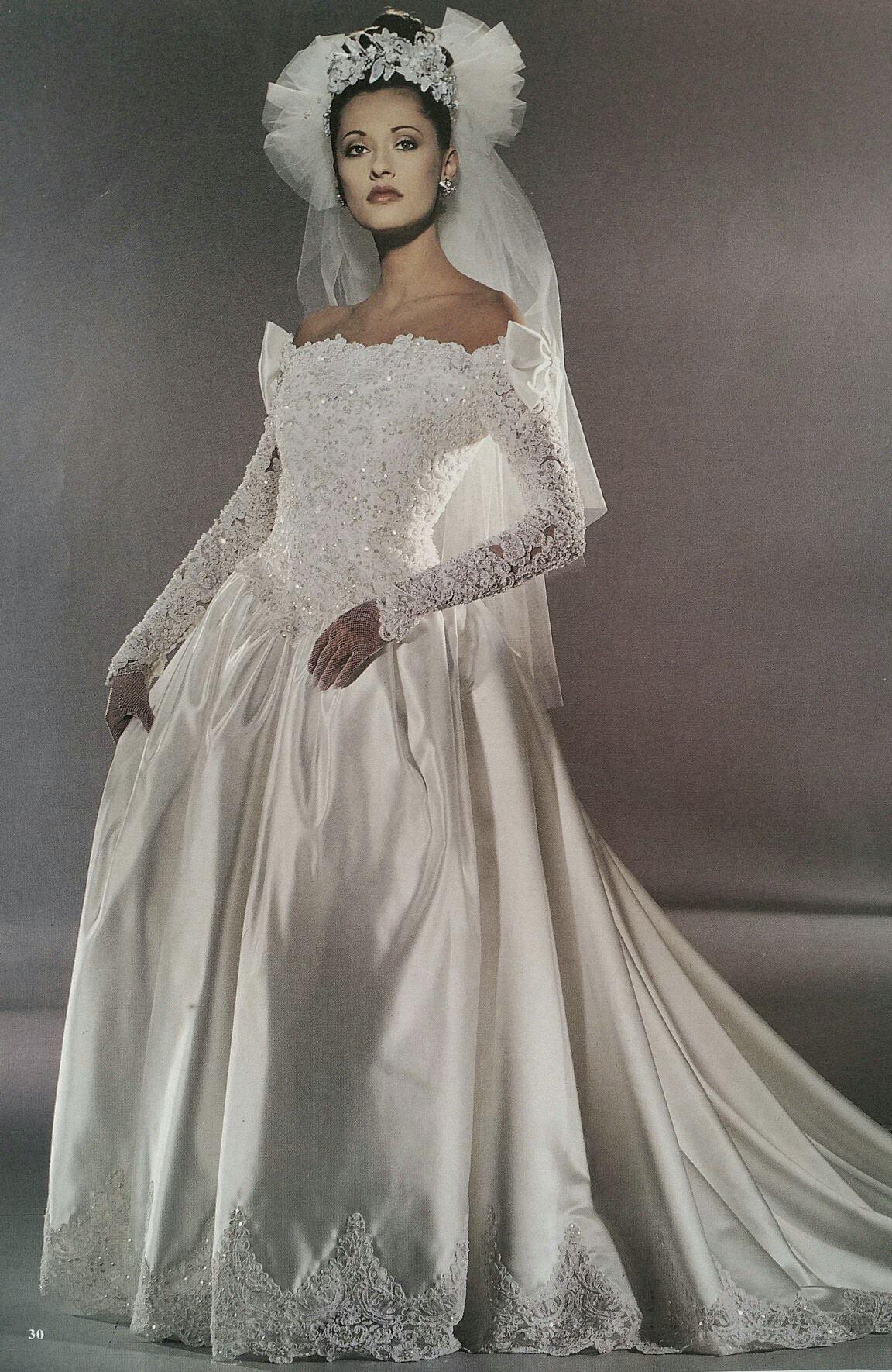 Demetrios 1995 Vintage 1990s Wedding Dress Bridal Magazine Ad