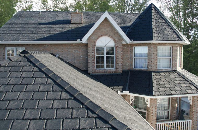 This roof is made of rubber tiles that resemble slate