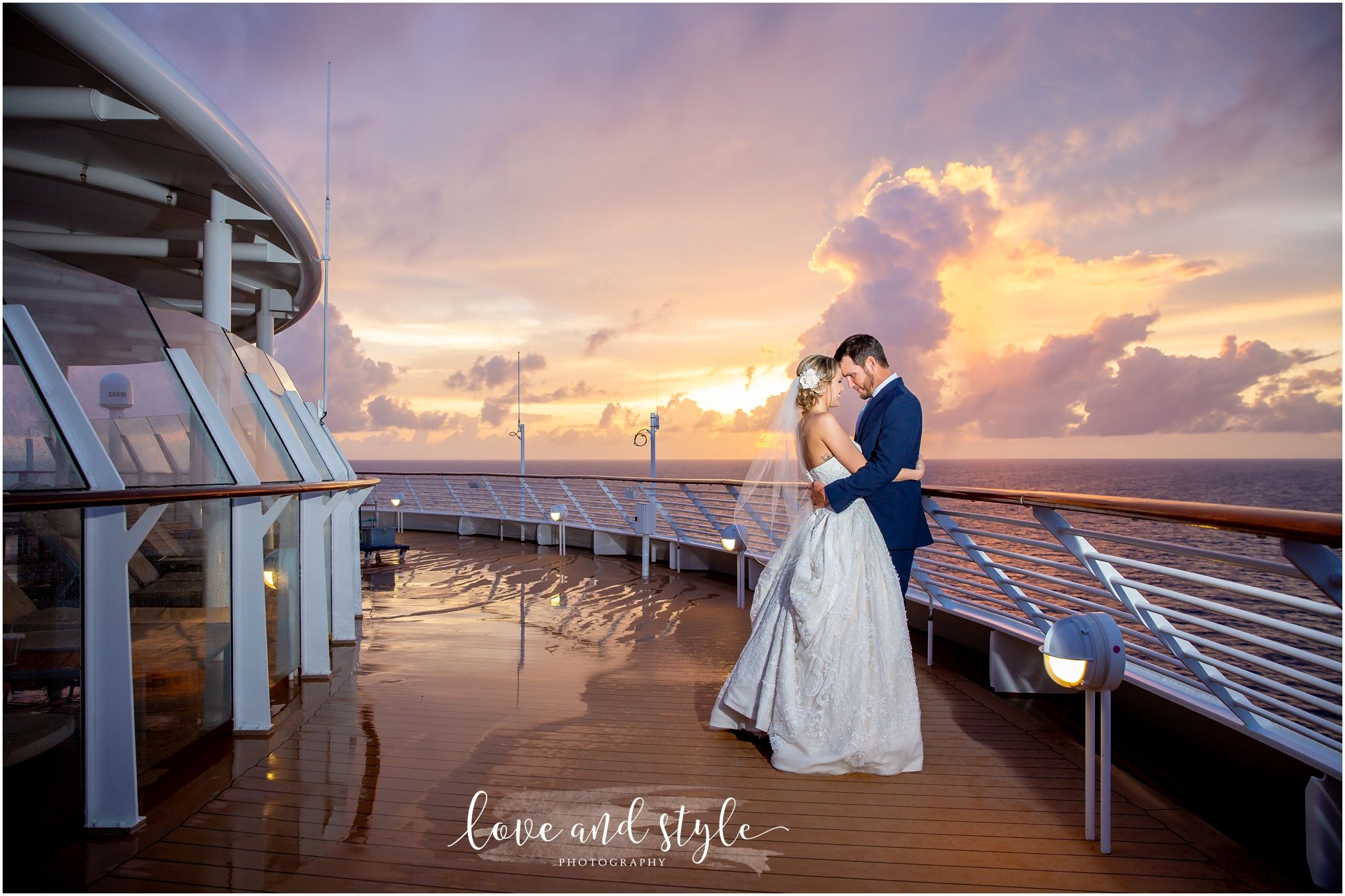 Disney Dream Cruise Ship Wedding Photo Of The Bride And Groom On The Deck At Sunset Disneydre Cruise Ship Wedding Disney Dream Cruise Disney Cruise Wedding