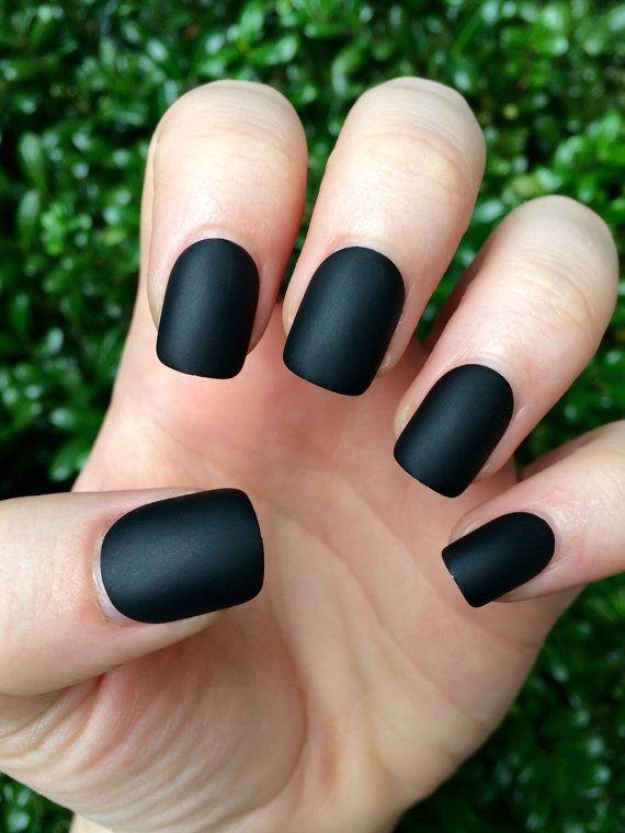 Black matte nails, matte nails, black matte, fake nails | Beauty On ...