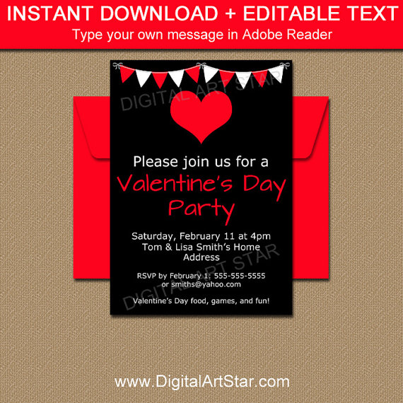 Black And Red Valentines Day Party Invitation By Digitalartstar