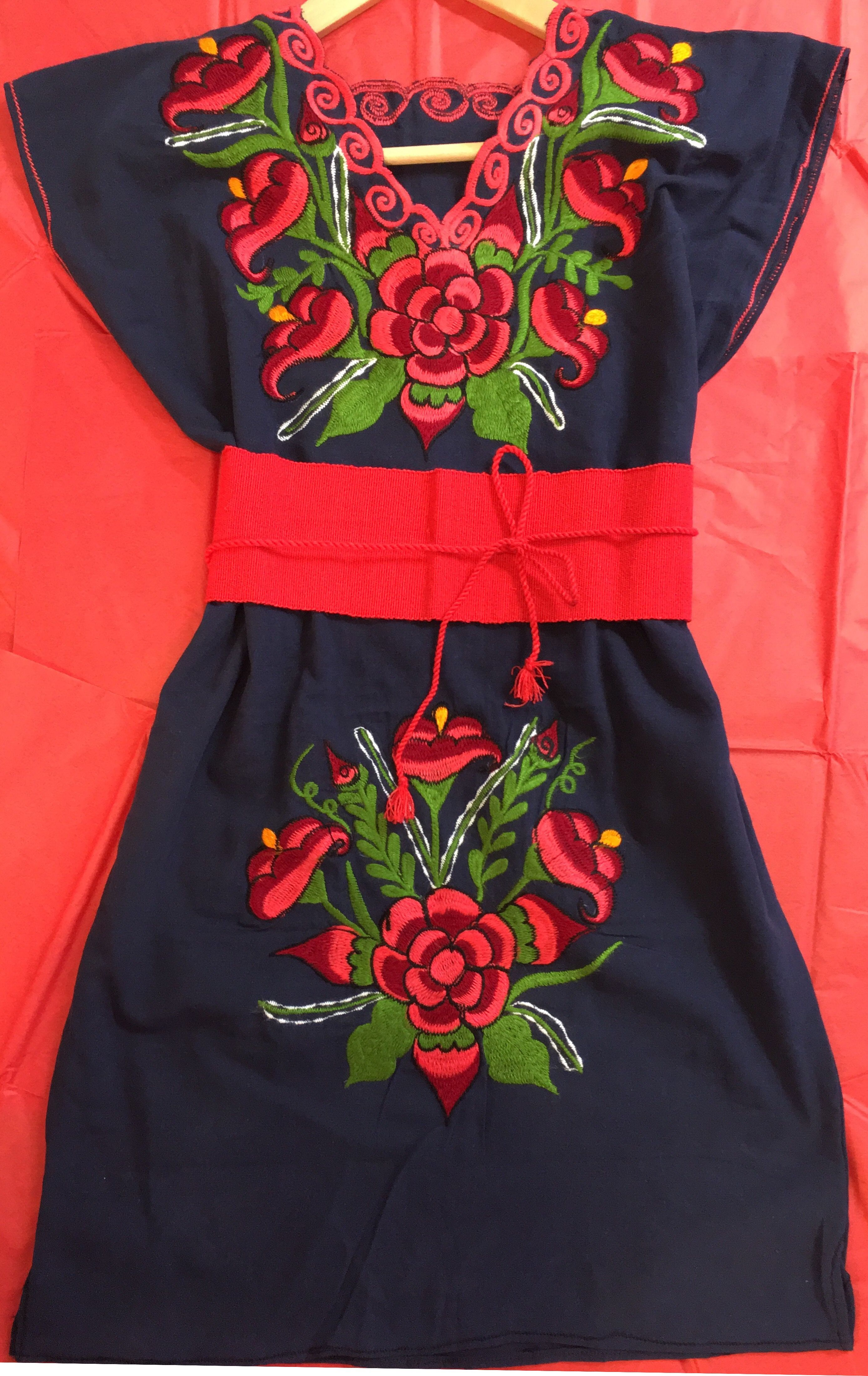 59360535b This Traditional Mexican dresses with beautiful hand-embroidered colorful  patterns was made by skilled artisans in Zinacatan, Chiapas a very  traditional ...