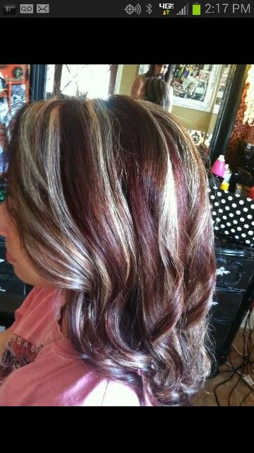 Dark chocolate base with red and blonde highlights | Hair ...