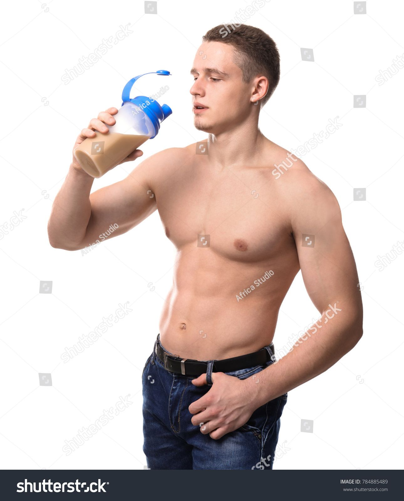 Muscular young bodybuilder with bottle of protein cocktail on white background #Ad , #AD, #bodybuilder#bottle#Muscular#young