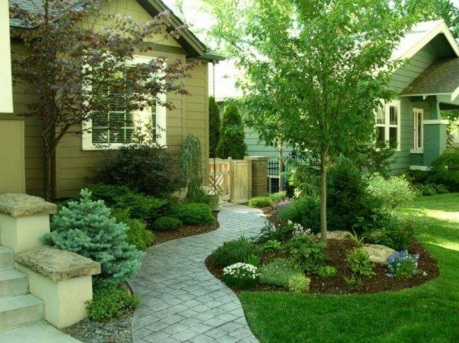 vorgarten gestalten schlängelweg anlegen pflastersteine blumenbeet, Gartenarbeit ideen