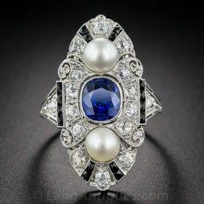 Anillo de zafiro, diamante, perla natural  Arte Decó