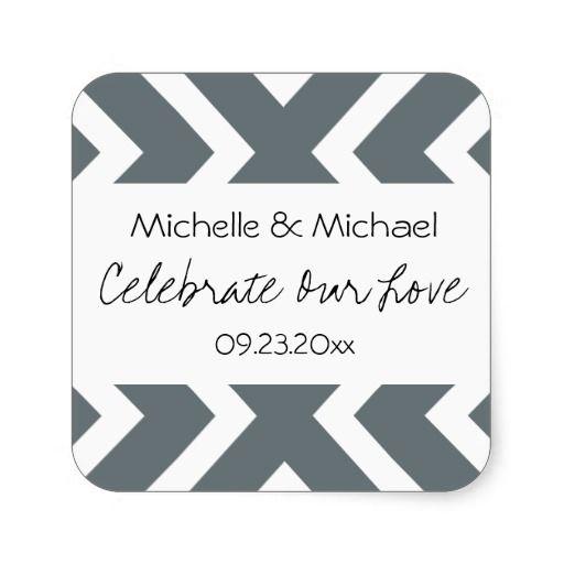 Gray Chevrons Handwritten Wedding Save the Date Square Stickers