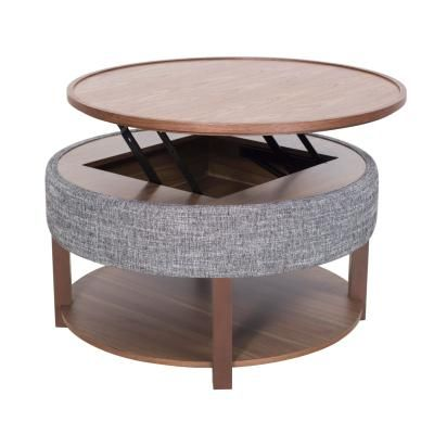 Neville Kd Lift Top Round Coffee Table W Storage Ash Gray Walnut