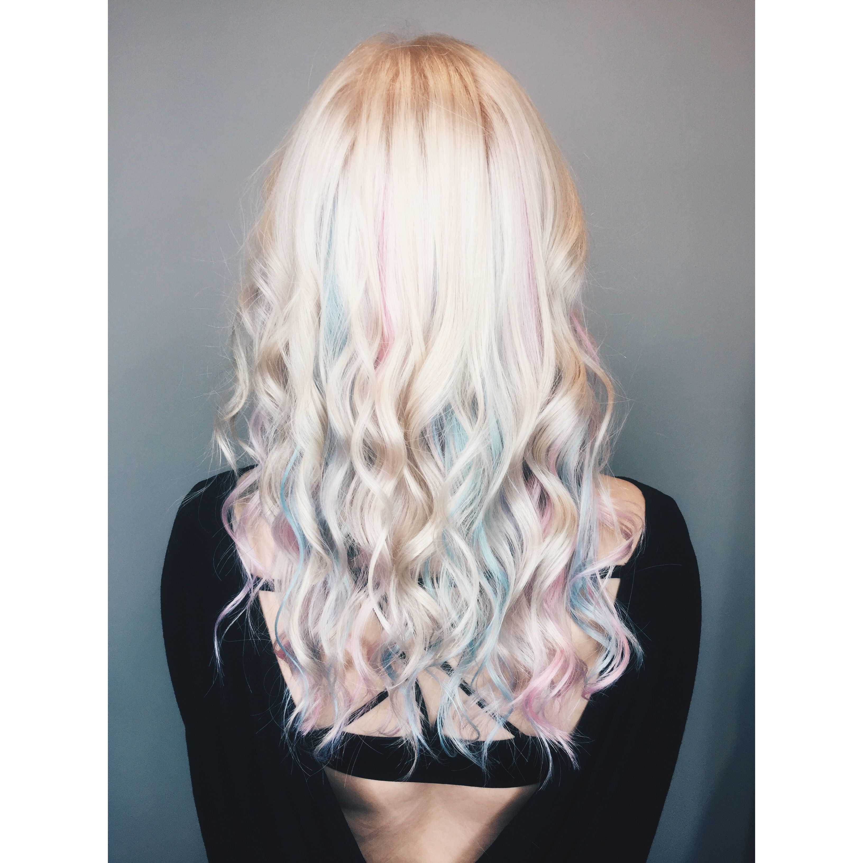 Beautiful Pastel Pink And Blue Hair With Platinum Blonde Rainbow Hair Blonde Hair Color Pink Blonde Hair Hair