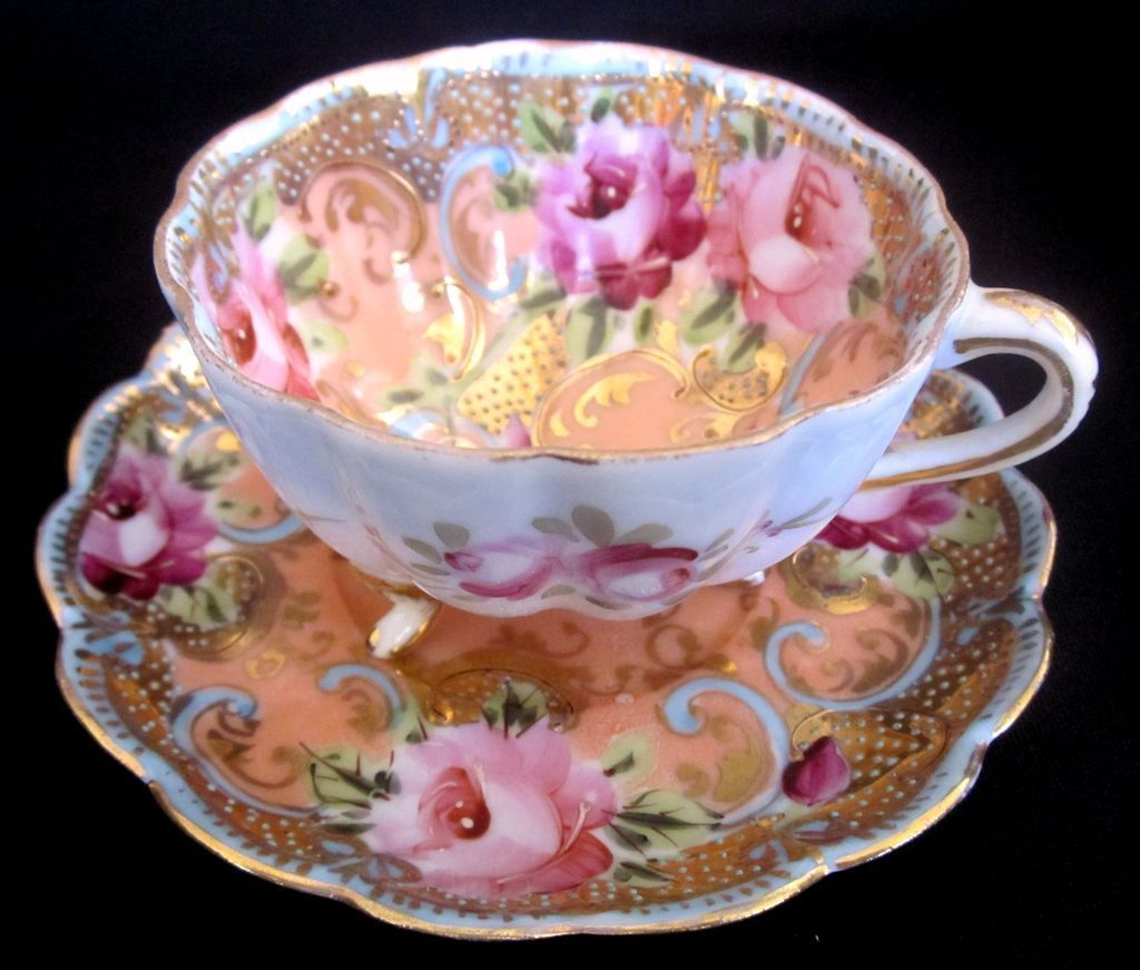 Nippon beaded footed cup and saucer