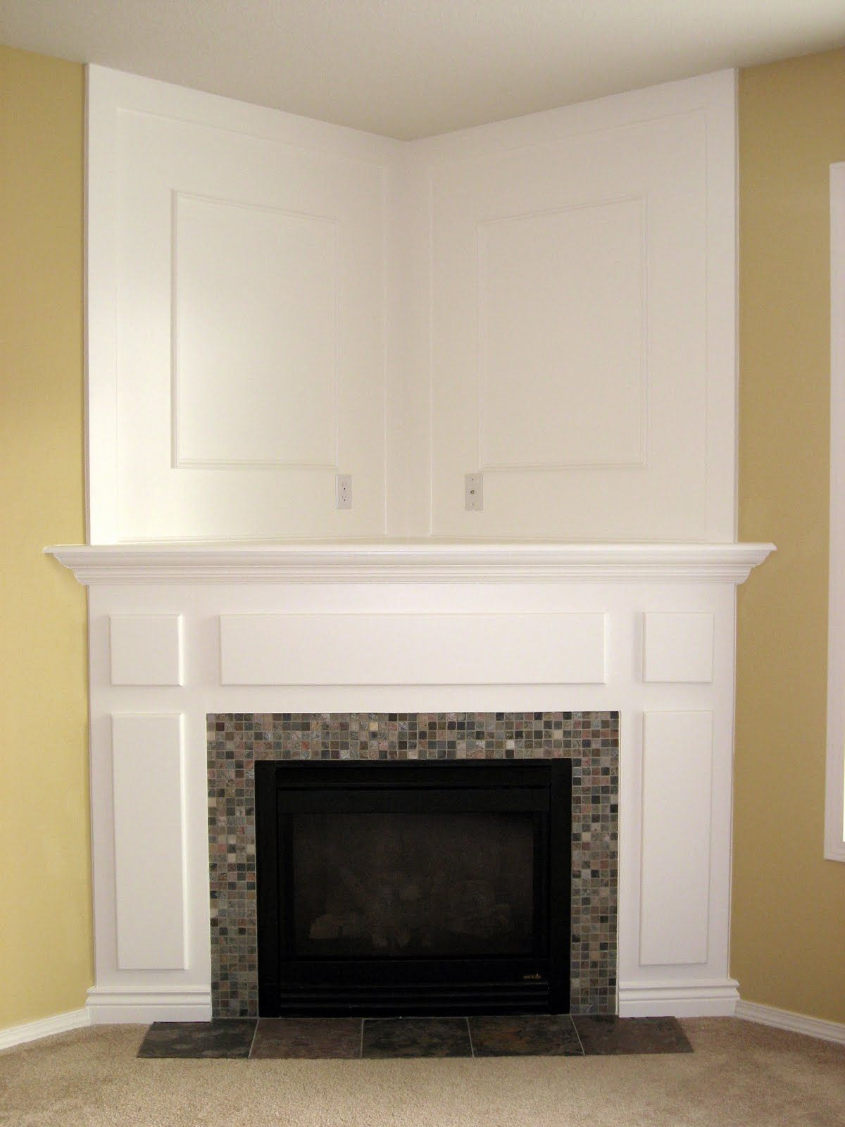 Great idea to replace the retro fireplace in our living Corner fireplace makeover ideas