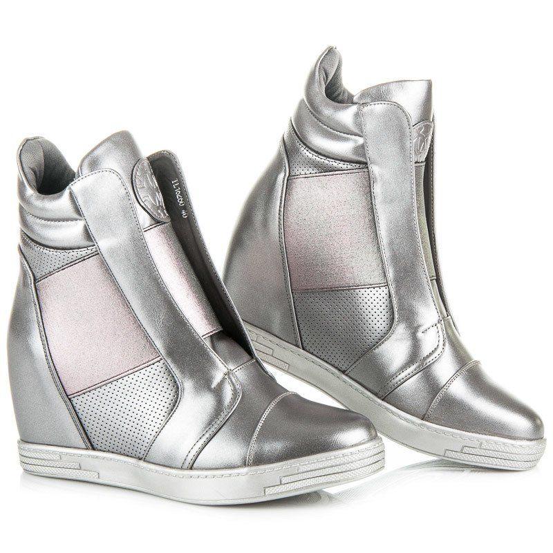Mtt Sport Srebrne Trampki Na Koturnie Szare Puma Fierce Sneaker High Top Sneakers Wedge Sneaker