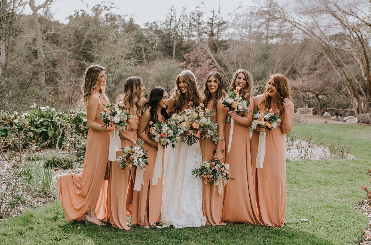 Jamie Kidd Blake Mansfield S Vintage Sunset Garden Wedding Green Wedding Shoes Jamie In 2020 Orange Bridesmaid Dresses Peach Bridesmaid Dresses Peach Bridesmaid [ 861 x 1300 Pixel ]