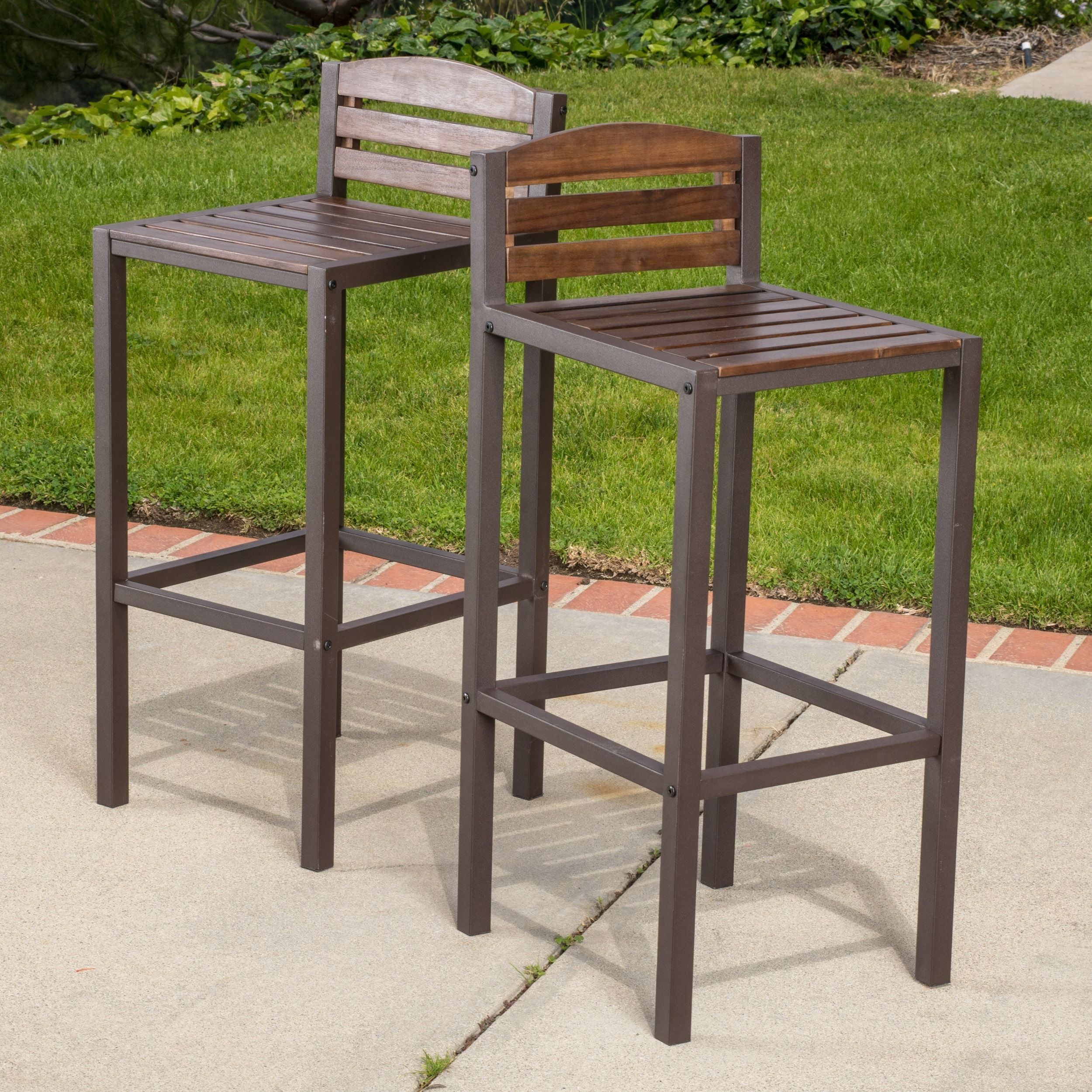 Milton Outdoor Brown Wicker Backless Counter Stool Set Of 2 By