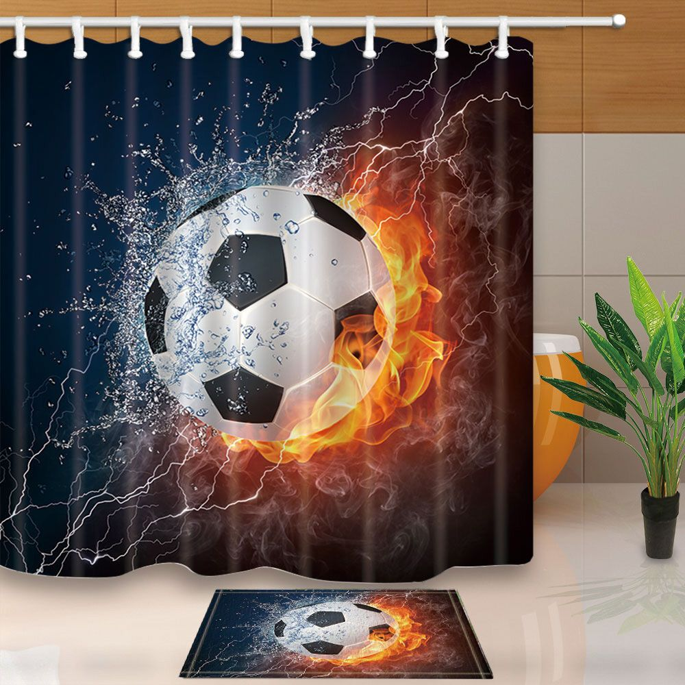 Water And Fire Football Shower Curtain Bathroom Decor Waterproof