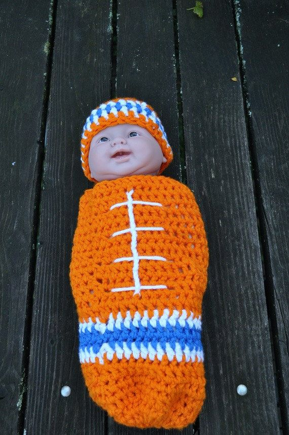 83a8d570656 Denver Broncos Baby Football newborn to 3 months Crocheted Cocoon and hat  set Photo Prop or Christmas Gift on Etsy