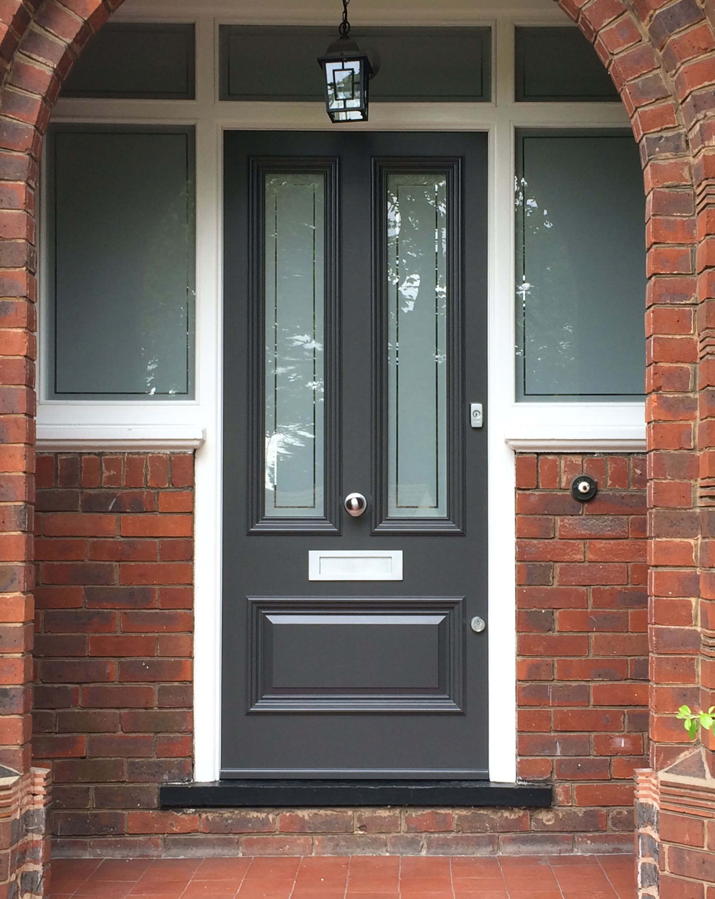 A Victorian Entrance Door In A Recessed Porch With Opaque Glass Panels For Privacy Chrome Door Furn Victorian Front Doors Glass Front Door Privacy Glass Porch