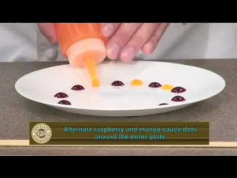Chef Mark's Plate Decorating Tips, using the Raspberry and Mango Dessert Sauces