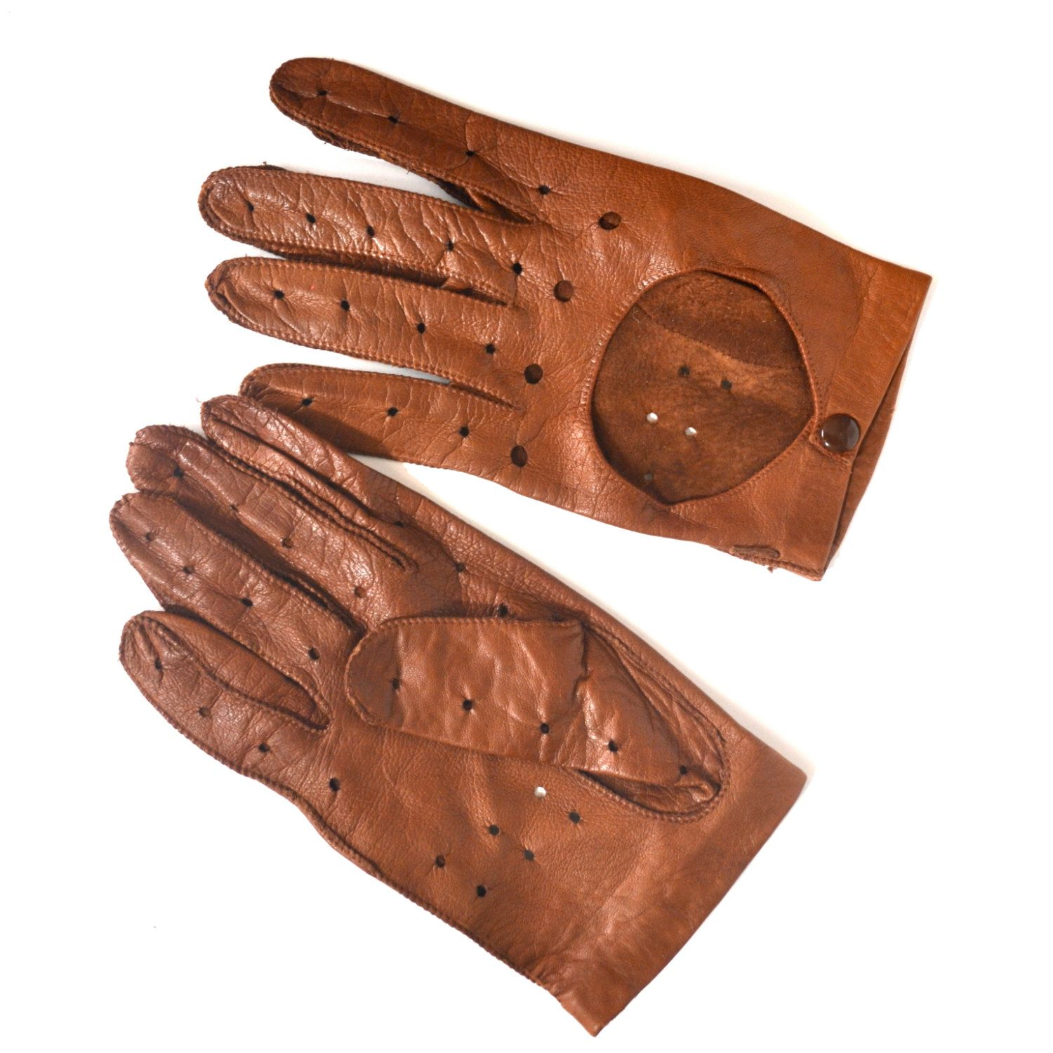 Mens novelty gloves - Vintage Driving Gloves Men S Brown Leather Gloves