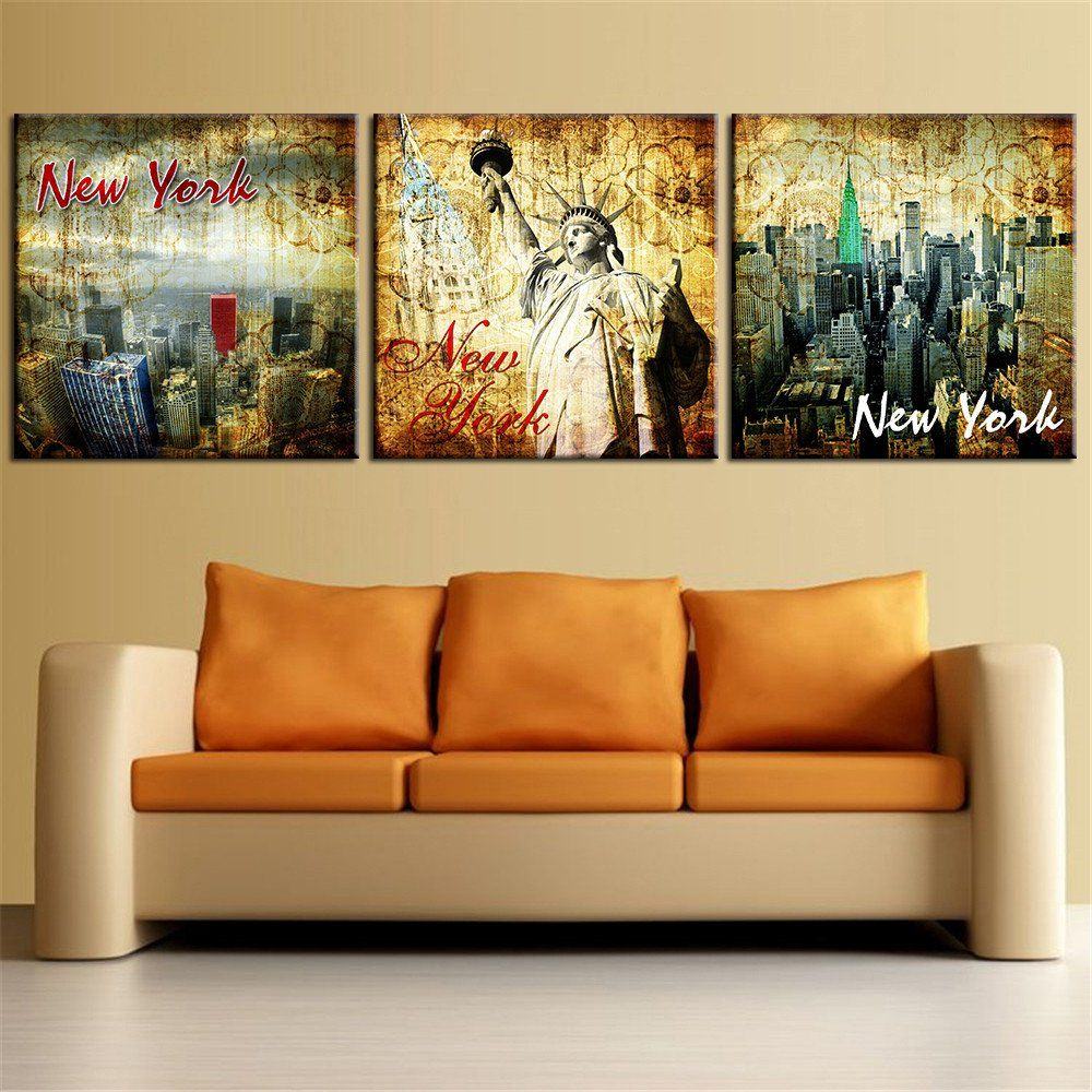 Modern Art Paintings For Living Room 3 Piece Modern Abstract Oil Painting New York Landscape Home Decor