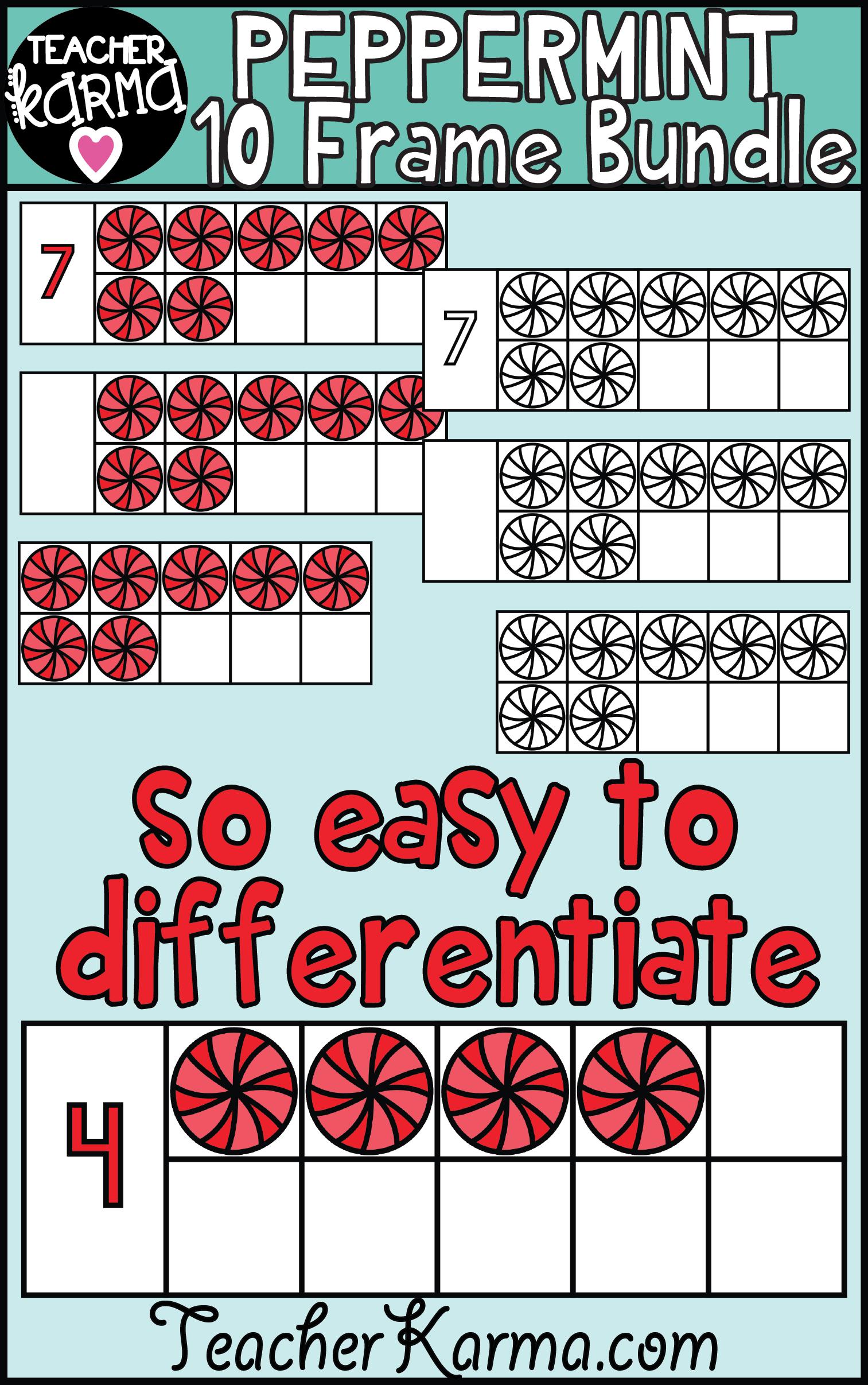 Peppermint Ten Frames Math Clipart